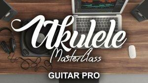Guitar pro est lancé sur un ordinateur et quelqu'un est en train d'écrire une tablature de ukulélé