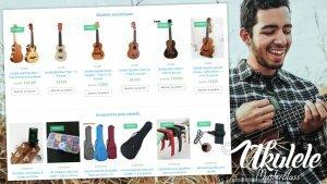 C'est une boutique de ukulélé en ligne, on y voit des ukulélés ainsi que de multiples accessoires comme des housses ou des cordes. Un musicien qui joue probablement du ukulélé rigole et prend beaucoup de plaisir à essayer de trouver un nouveau ukulélé à acheter.